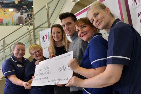 Taken at the Royal Stoke University Hospital Children's Atrium is Leah and Joe with (left to right) deputy sister Vicky Vincent, sister Paula Blurton, sister Teresa Wilson and junior sister Jo Charles. Picture credit: The Stoke Sentinel