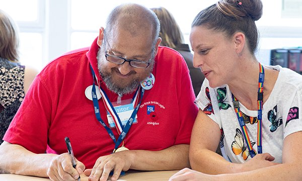 Impact of nursing associates on the learning disability sector. Picture shows Abbie Rix (left), nursing associate trainee at Oxford Health NHS Foundation Trust, with patient experience group member Kevin Preen