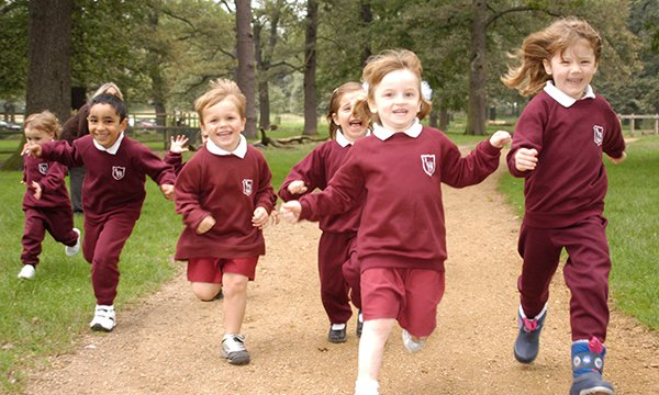 Picture shows children running. The Daily Mile – which aims to get every child out of the classroom for a 15-minute jog – is the answer to concerns over physical inactivity