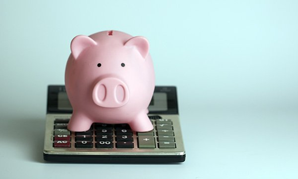 An image of a piggy bank sitting on top of a calculator