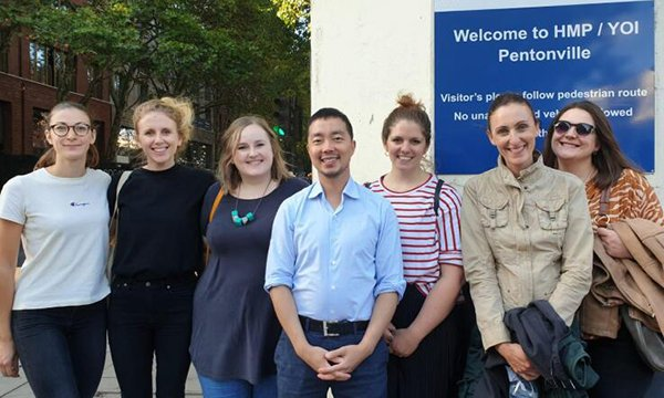 Ms Waddington, third from right, with six of the team of YourStance volunteers at HMP Pentonville