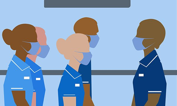 Illustration shows four nurses being addressed by a nurse leader