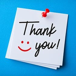 Illustration showing a thank you note with a smiley face