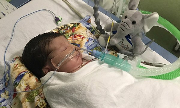 Ella Cope in hospital, she was born prematurely at 34 weeks gestation and became dangerously ill after developing bronchiolitis