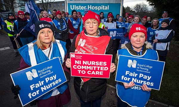 Community nurse Karen Bowes, care of the elderly nurse Karen Rees and renal nurse Jayne Bell on the picket line at the Ulster Hospital, Dundonald