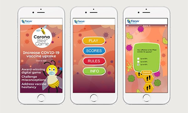 Picture shows three smartphone screens displaying the Corona Bee Game