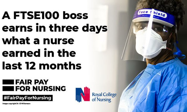 Image from RCN's #FairPayForNursing social media campaign day