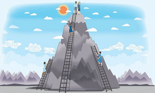 Illustration showing nurses climbing ladders, representing career progression