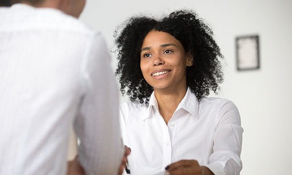 A woman taking part in an interview. A good impression may have an impact on your future