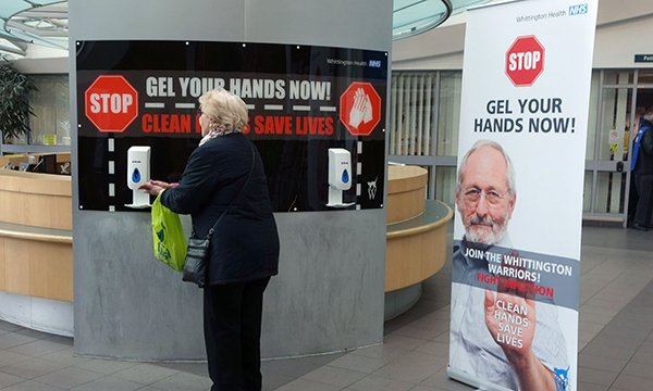 Signs at the Whittington Hospital in London designed to persuade public and staff to take responsibility for hand hygiene