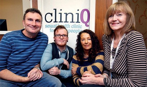 CliniQ team members (from left to right): co-founder Graham Reed, case worker Aedan Wolton, counsellor Toni Hogg and co-founder Michelle Ross.  Picture credit: Tim George