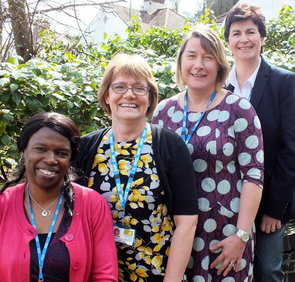 The new Macmillan Palliative/End of Life Care Education Project team at Hertfordshire Community NHS Trust. Front to back: Kemi Koleoso, Macmillan Clinical Education Project Lead, Julia Gay, Clinical Educator, Sarah Thompson, Clinical Educator and Lesley Sayliss, Clinical Educator for Allied Health Professionals