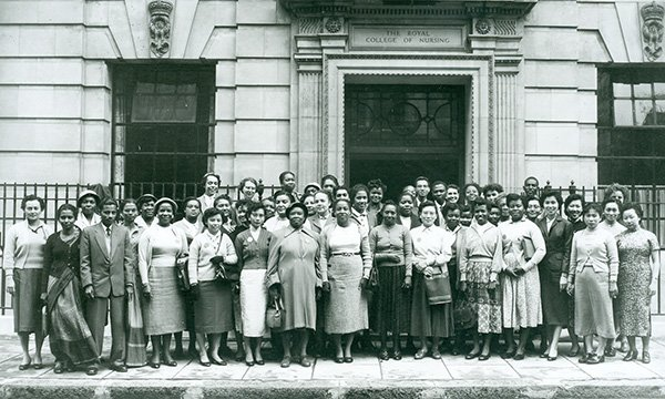 International School Students outside the College entrance 1957