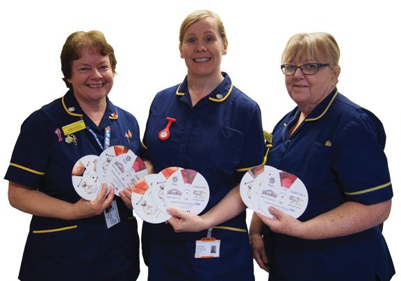 From left to right: tissue viability nurses Judith Barnard, Jackie Robinson, and Helen Blagg with the pressure ulcer grading wheel