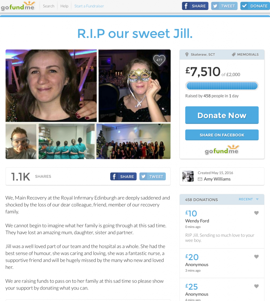 A fund has been set up in tribute to Jill Pirrie following her death