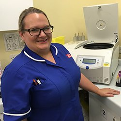 Picture of Amy Kirkby, a cancer research nurse. In this article she and two other clinical research nurses share their accounts of a shift, offering an insight into their daily work.