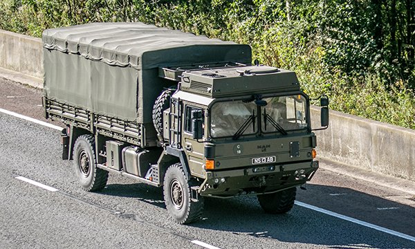 Picture shows an army truck on a motorway in Lancashire. The armed forces are being drafted in amid concerns over delays in supplying protective equipment to staff caring for coronavirus patients.