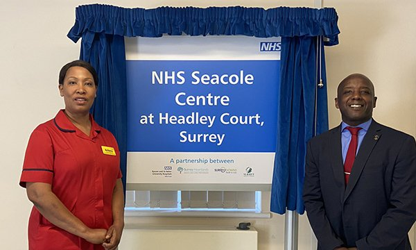 NHS Seacole Centre chief nurse Arlene Wellman, left, and Trevor Stirling from the Mary Seacole Trust at the opening of the centre in Surrey