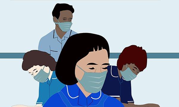 Illustration of stressed out community nurses wearing masks