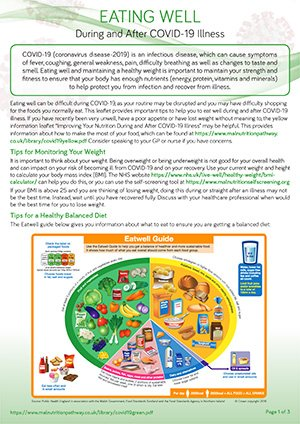 COVID-19 leaflet on nutrition