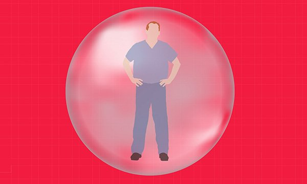 The nurse describes feeling like he's in an emotional bubble