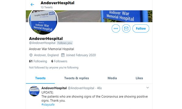 Screenshot of a Twitter account claiming to represent a hospital in England