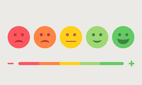 Picture is vector image of emoji icons representing moods ranging from sad to happy. A review finds few NHS mental healthcare providers use inpatient feedback to improve services.