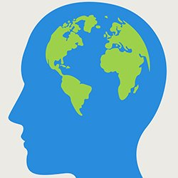 A computer graphic depicting a human head containing a cartoon illustration of the globe. A five-year initiative by the WHO seeks to ensure access to high quality and affordable mental health care for an additional 100 million people in 12 countries.