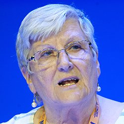Gwen Vardigans speaking at RCN Congress. The RCN wants nurses to lobby healthcare providers for strategies on environmental sustainability and raise awareness of climate change.