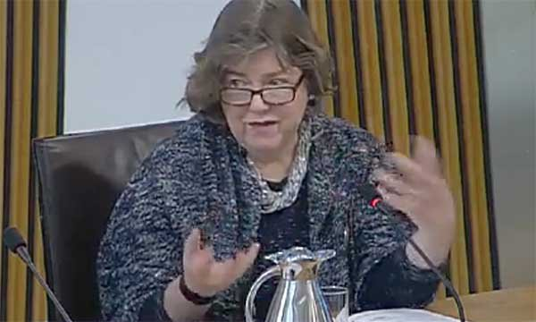Dementia nursing expert June Andrews giving evidence to the Scottish Parliament's audit committee in Edinburgh