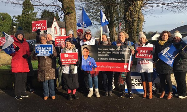 RCN members striking at Mid Ulster Hospital in Northern Ireland