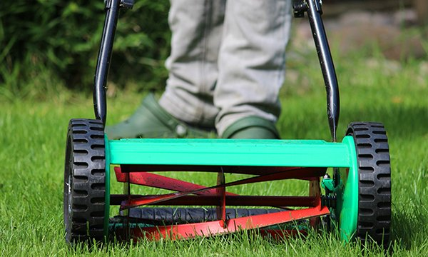 Picture of push-on mower. Older people in care homes can benefit from doing everyday tasks such as mowing the lawn