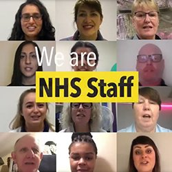 Still from a video supporting pay campaign by NHS unions