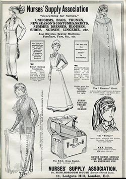 A Nurses' Supply Association advert for the latest in nursing uniforms in 1913