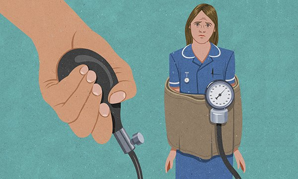 Illustration depicts stressed nurse trapped in blood pressure cuff. The Interim NHS People Plan aims to tackle the biggest challenge facing the NHS – a shortage of nurses.