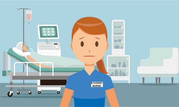 Illustration showing a nursing student on a hospital ward looking anxious