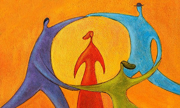 Image shows abstract representation of people dancing in a circle around the figure of a woman. Nurses are advocates for their patients, service-users, and a human rights approach is essential.