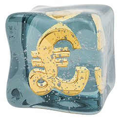 Picture of a pound sign in a block of ice, symbolising a pay freeze.