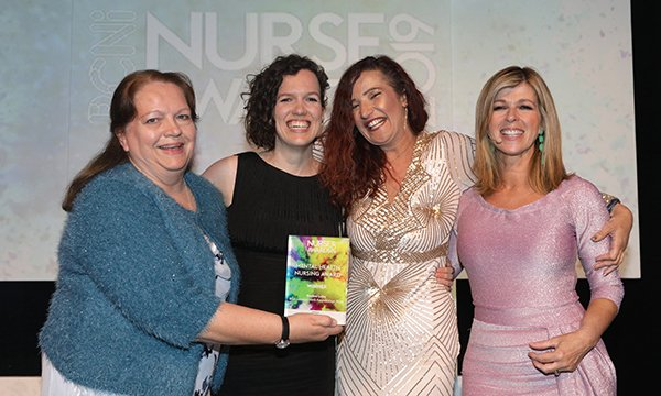 Pictured at RCNi Nurse Awards 2019 are (L-R) RCN council chair Sue Warner, clinical psychologist Kate Fillingham of East London NHS Foundation Trust, Rachel Luby and tv presenter Kate Garraway. Entries are now open for the RCNi Nurse Awards 2020.