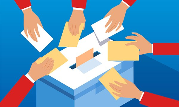 Illustration of people voting