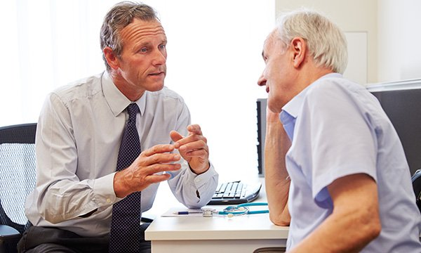 Picture shows an older man having a consultation with a doctor. A campaign is encouraging older people to seek treatment for anxiety and depression after a survey showed they feel they should just 'get on with it'.