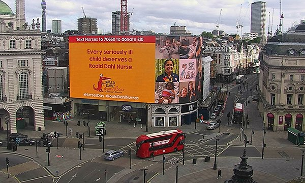 The Roald Dahl's Marvellous Children's Charity fundraising message at Piccadilly Circus, London
