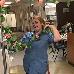 Staff nurse Rachel Newton decorating Fleming ward on the wedding day