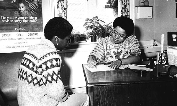 Elizabeth Anionwu working at the pioneering Brent Sickle Cell Centre in 1980