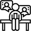 Stay connected icon, showing s person sitting on a bench with speech bubbles around their head