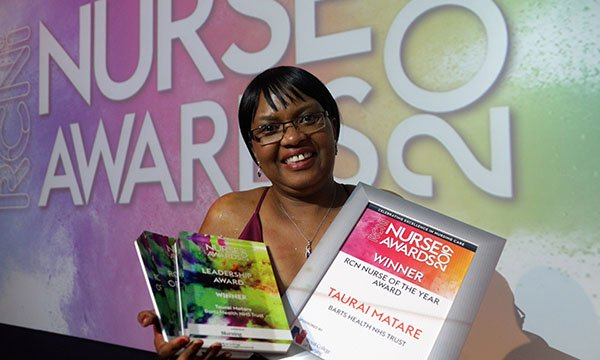 RCN Nurse of the Year 2019 Taurai Matare also won the Leadership category. Picture shows her with her awards.