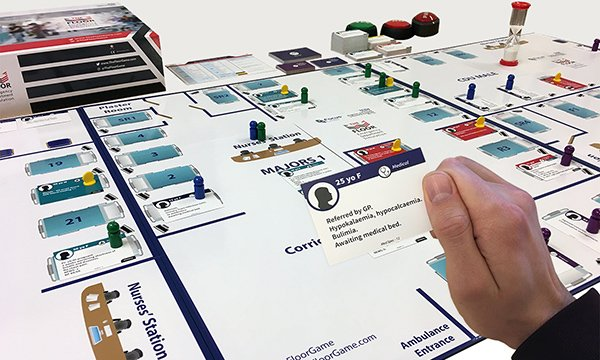 Picture of The Floor game, which simulates the challenges of an emergency department and is helping nurses to develop clinical leadership skills.
