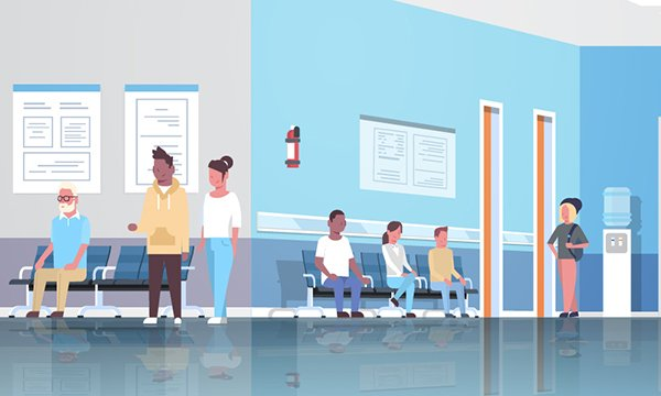 Illustration of figures waiting in a hospital setting. Wales has become the first country in the UK to introduce a single waiting time target for patients with cancer to help speed up diagnosis and treatment.