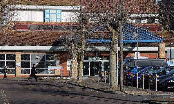 Worthing Hospital in West Sussex, where a healthcare worker in the emergency department is among eight confirmed cases of coronavirus in the UK