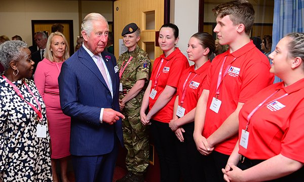 Donna Kinnair and Prince Charles meet cadets